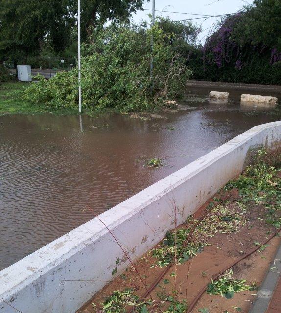 מים שניקוו לשלולית תוך דקות, במגרש הספורט ליד מועדון התרבות