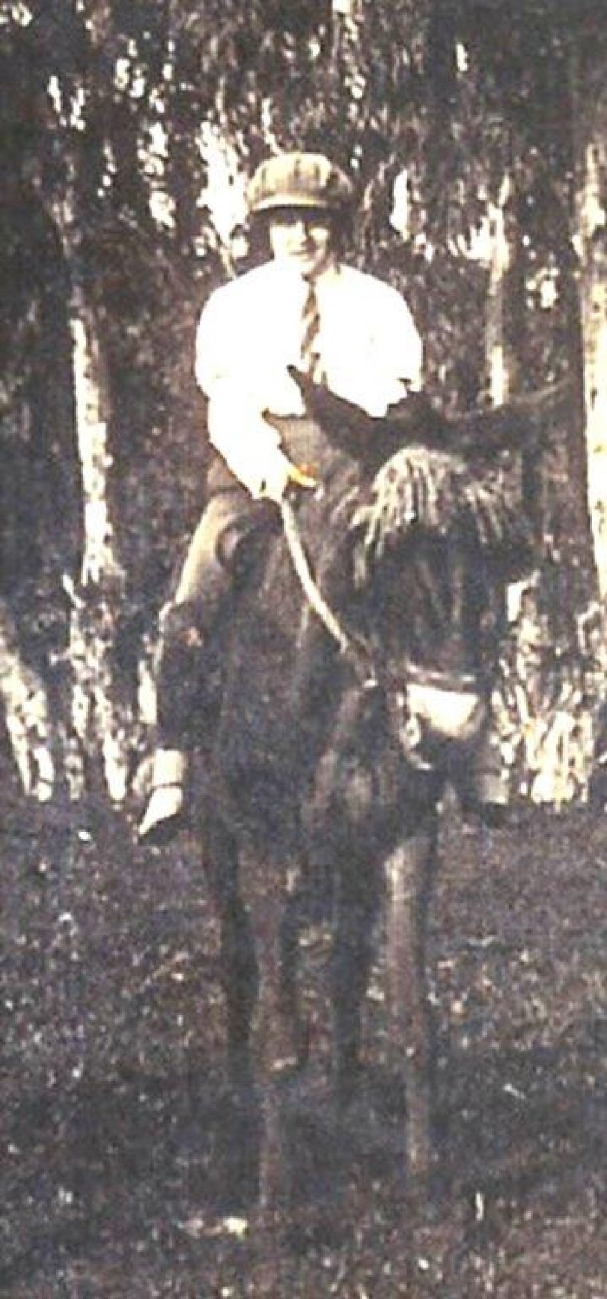 חיה גינזבורג רוכבת על פרדה